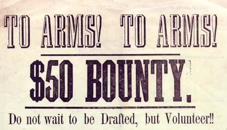 A Civil War recruitment banner offering a bounty for enlistment