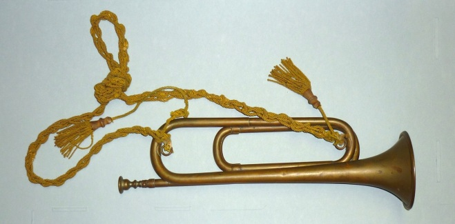Calvary bugle, made in France, ca. 1860, brass with gold wool cord. Collection of the Duxbury Rural and Historical Society, 1955.005.053.